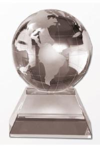 Trophäe Weltkugel Kristallglas (M-7559)