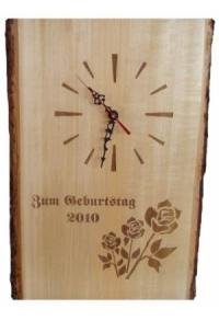 Rindenbrett mit Uhr inkl. Lasergravur, ca. 40 cm