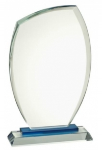 Glas-Trophäe Mare Blue, 19 cm